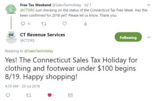 CT Sales Tax Holiday 2018 verified