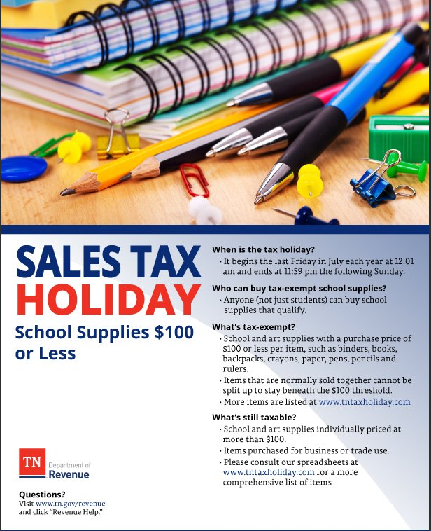 Tennessee Tax Free Weekend 2018 - TN Sales Tax Holiday Items List